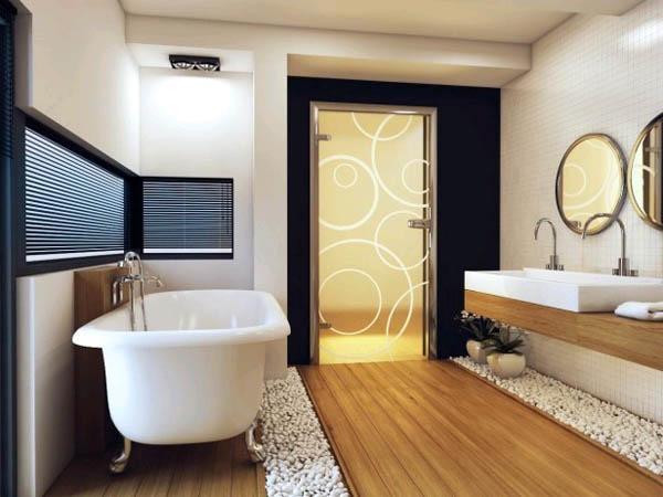 Скрытое освещение в ванной комнате в японском стиле