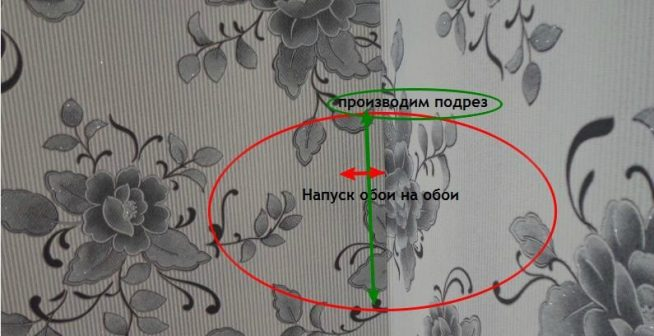 Поклейка обоев внахлёст с последующим подрезом