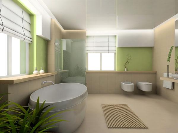 Ванная в японском стиле с окрашенными стенами