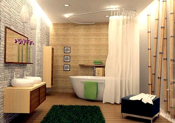 Натуральный камень и бамбук  в японском стиле для ванной комнаты