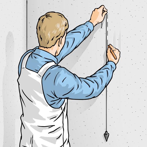 Вертикальная разметка стен с помощью отвеса