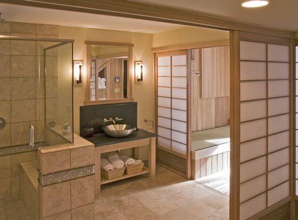 Сёдзи в интерьере ванной комнаты