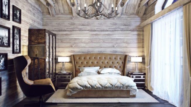 Освещение в спальне шале