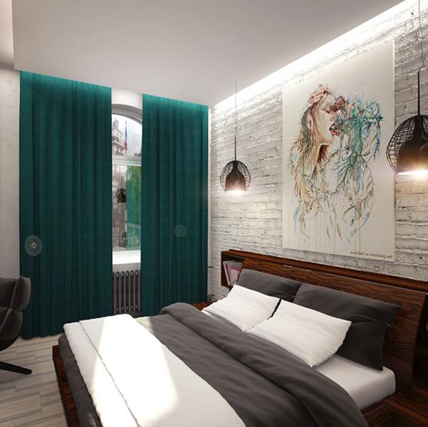 Декорирование обстановки в спальне-студии