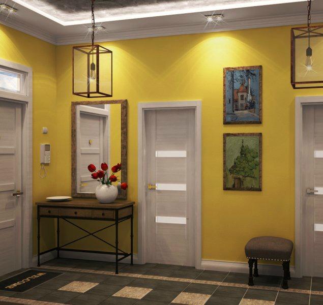 Основное и декоративное освещение прихожей в стиле модерн