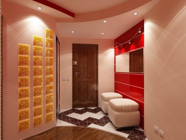 Активные цветовые вставки в интерьере прихожей в стиле модерн