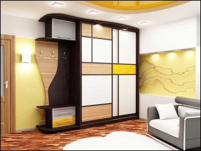 Многофункциональный шкаф-купе для прихожей в стиле модерн