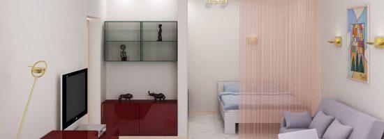 Интерьер однокомнатной квартиры с детской