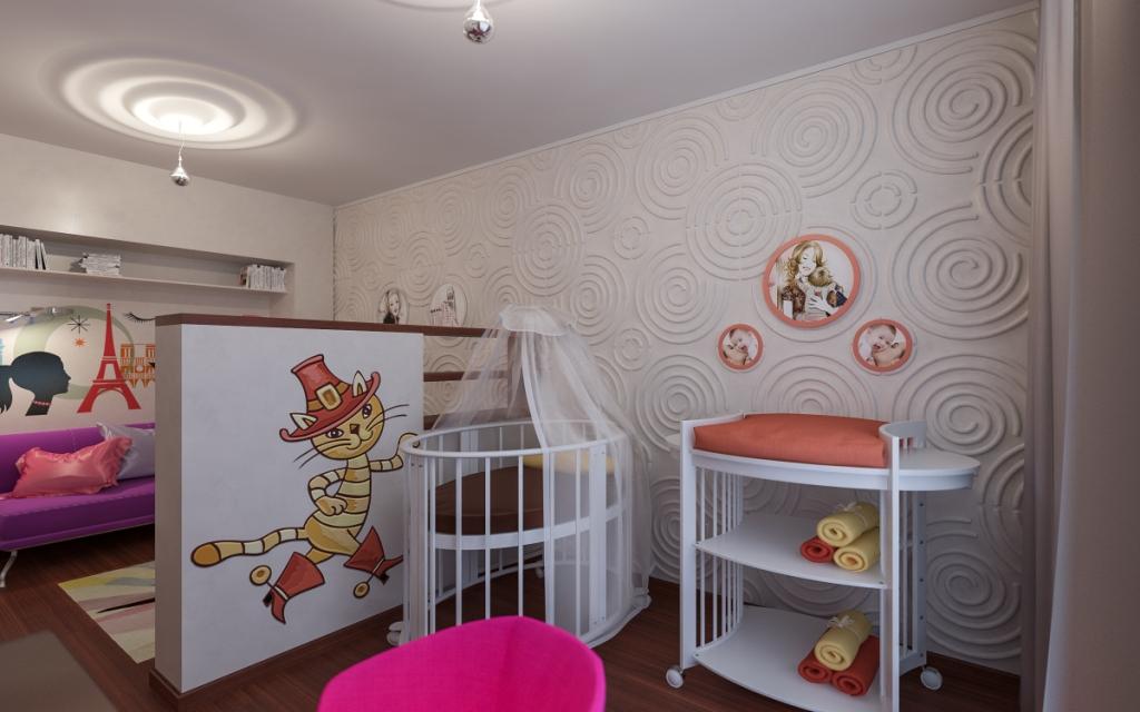 Дизайн однокомнатной квартиры с детской