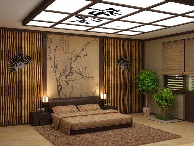 Бамбуковые панели в спальне