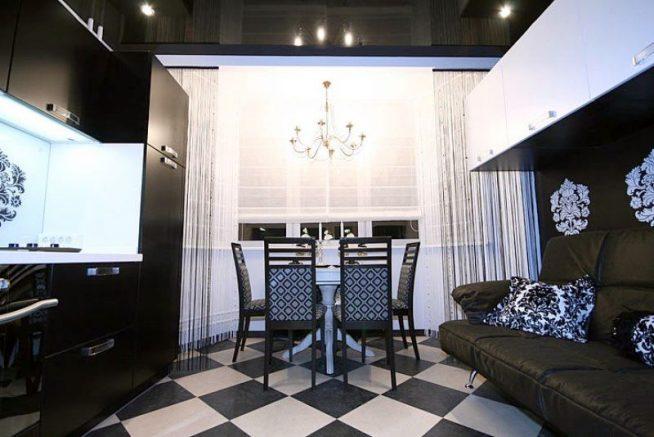 Чёрно-белый пол на кухне