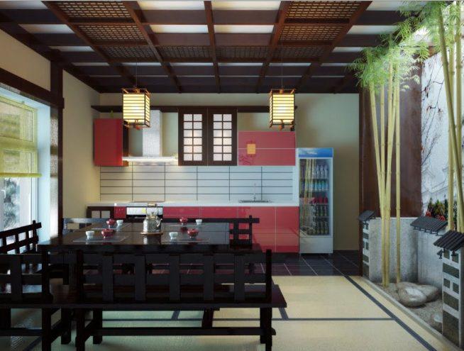 Необычное оформление потолка на кухне