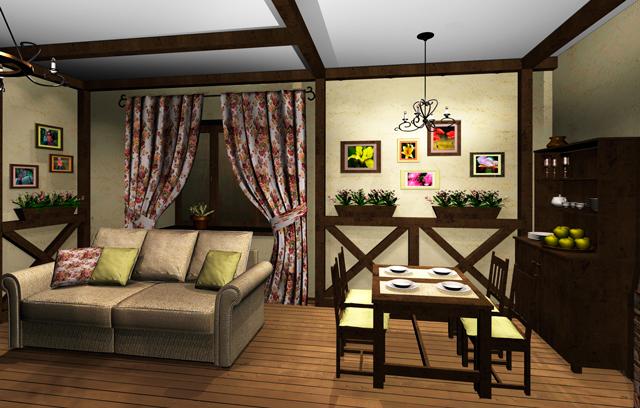 Мебель в гостиной кантри