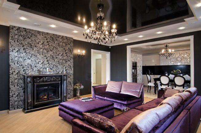 Дизайн комнаты с типичным для арт-деко оформлением пола