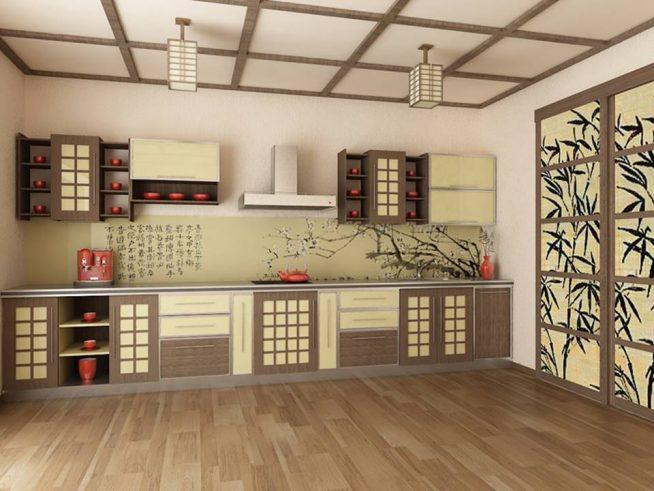 Кухня с однотонными стенами