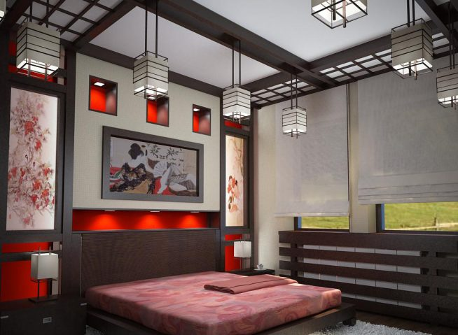 Спальня с балочным потолком в японском стиле