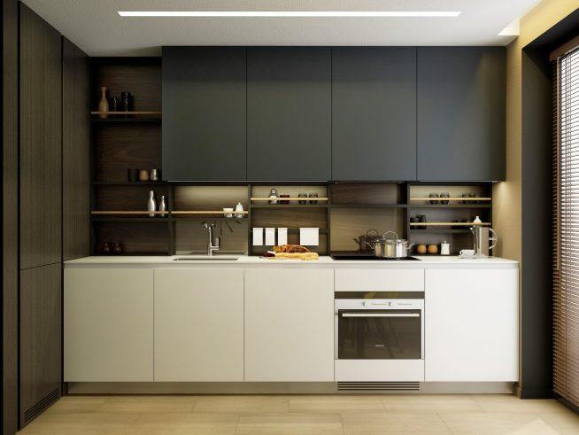 Ограниченная цветовая гамма на кухне