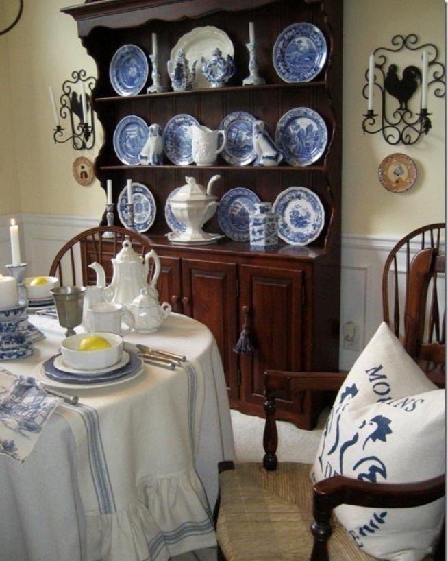 Вариант хранения посуды в стиле прованс