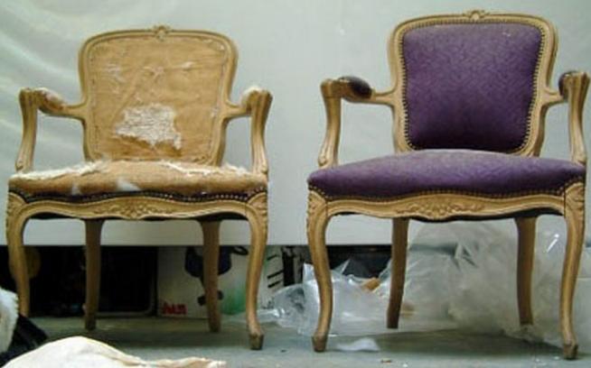 Мягкий стул до и после реставрации