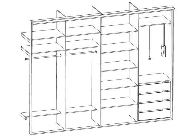 Схема шкафа без внешних стенок