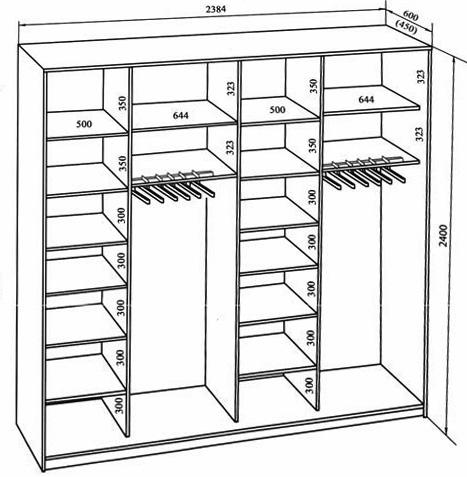 Схема шкафа с корпусом