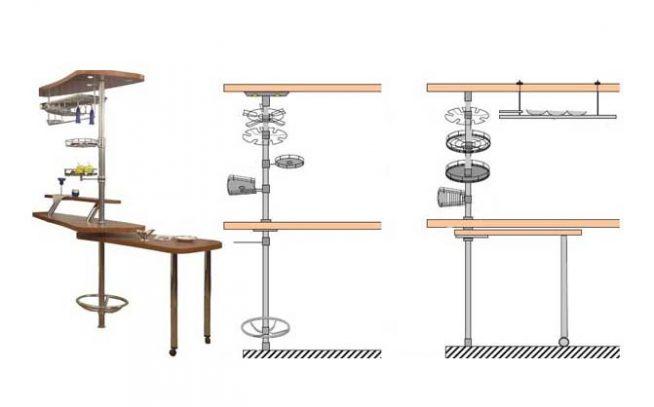 Конструкция и расположение элементов вертикального рейлинга