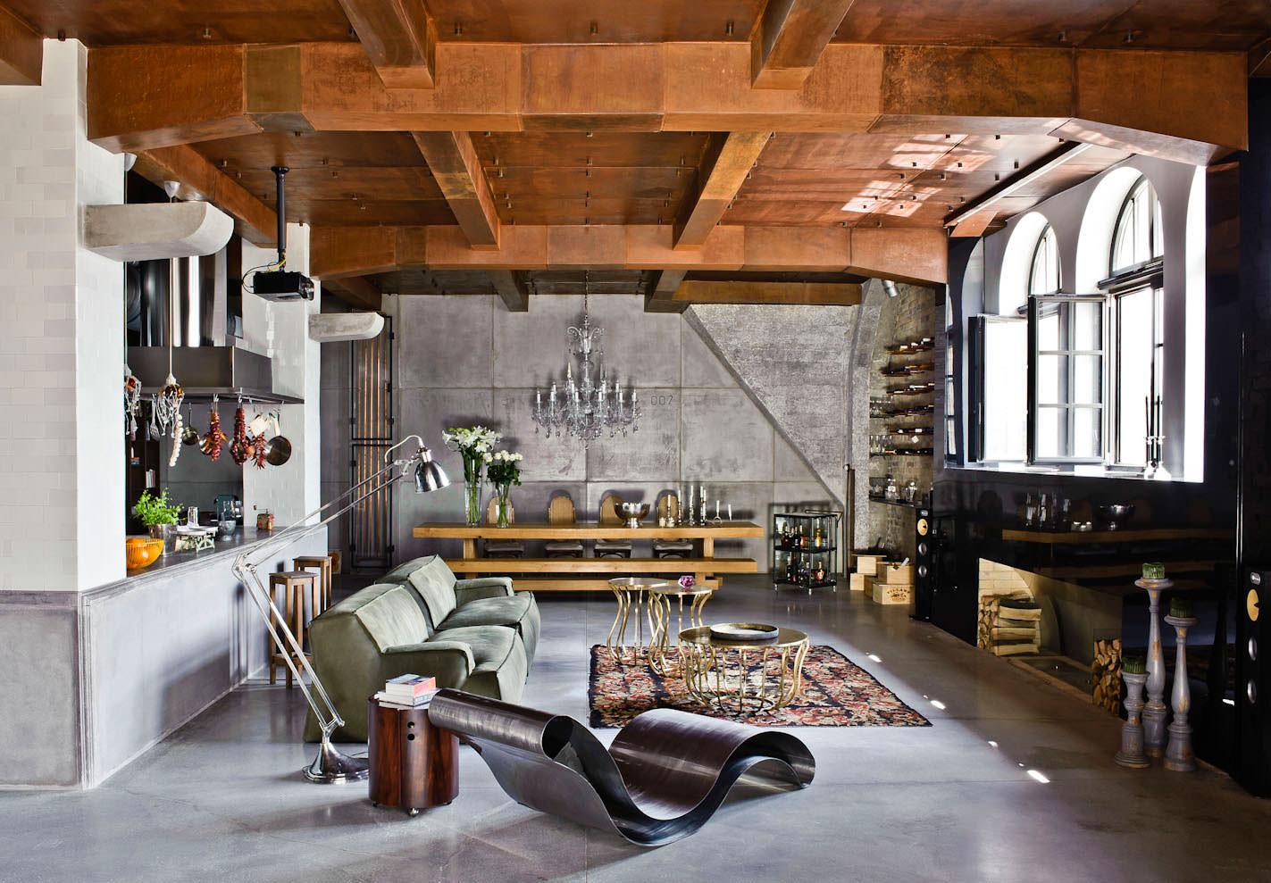 Гостиная в стиле лофт – современно и креативно