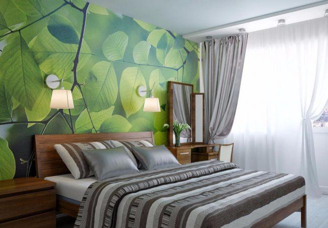 Дизайн-спальни с фотообоями, настенными светильниками и текстилем серых оттенков