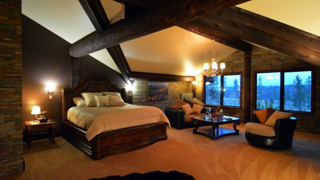 Спальня в эко-стиле в теплых тонах
