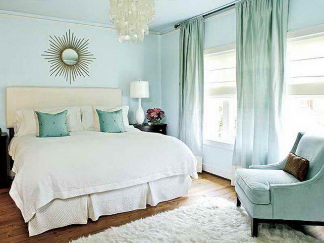 Декор голубой спальни