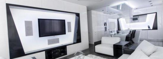 Дизайн-проект гостиной в стиле хай-тек