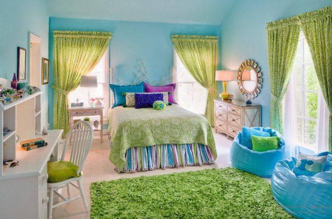 Голубой и зелёный спальня