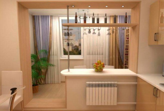Кухня, совмещённая с балконом