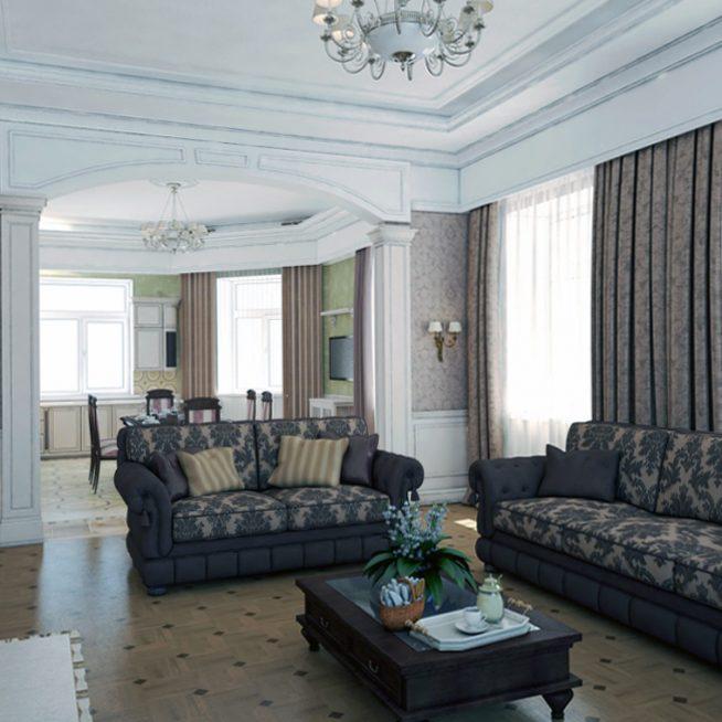 Неоклассицизм в интерьере гостиной