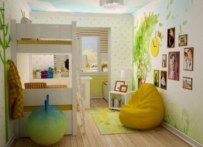 Объединение комнаты для детей и балкона