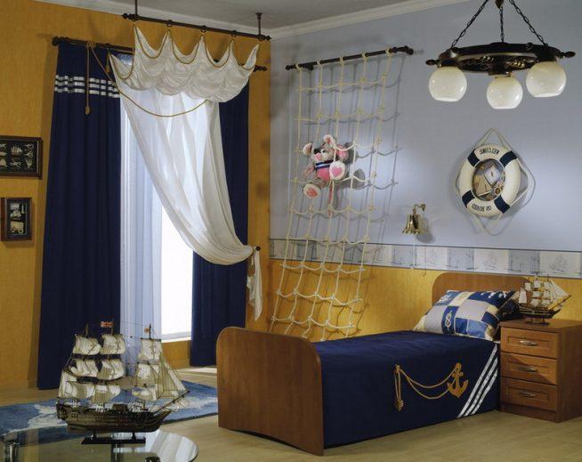 Отделка стен в детской комнате в морском стиле