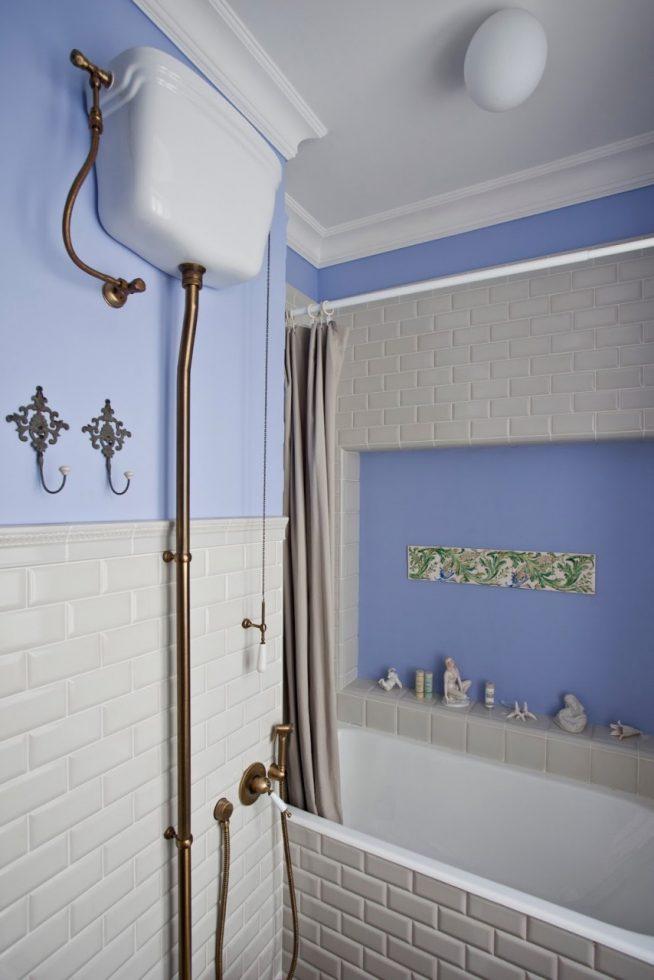 Помещение для принятия ванны в стиле шебби-шик