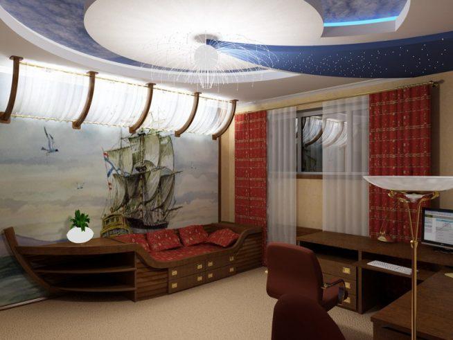Потолок в детской комнате в морском стиле