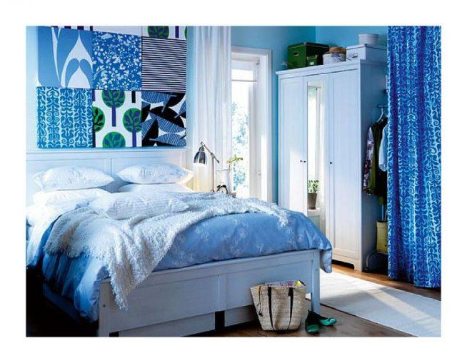 Спальня голубой и чёрный