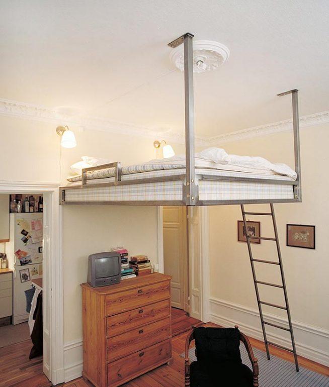 Дизайн интерьера малогабаритной квартиры с кроватью на втором ярусе