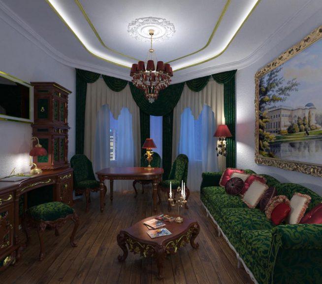 Дизайн просторной гостиной комнаты