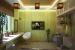 Акцентная стена в виде бамбуковых стволов