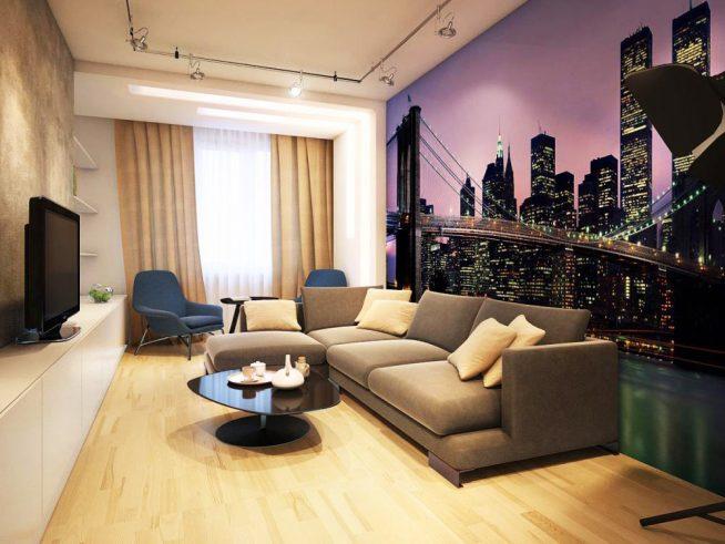 Фотообои в гостиной в современном стиле
