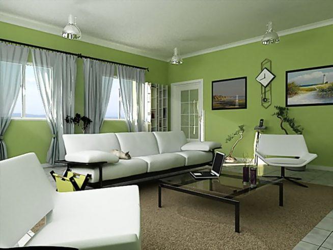 Гостиная модерн в зелёном цвете
