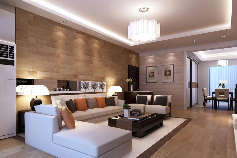 Дизайн интерьера роскошной гостиной в стиле модерн
