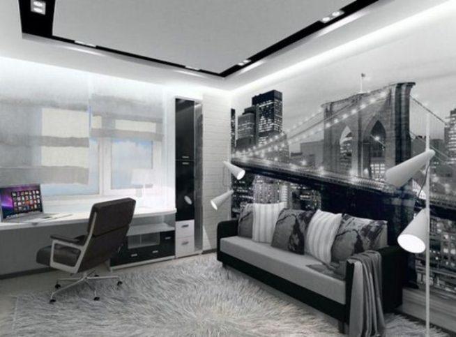 Минимум мебели в комнате хай-тек