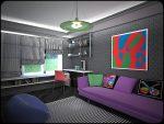 Серая комната в стиле поп-арт