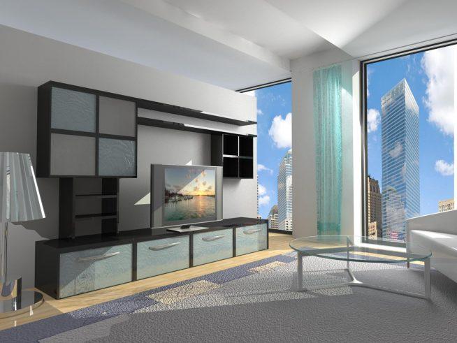 Серая комната с панорамными окнами