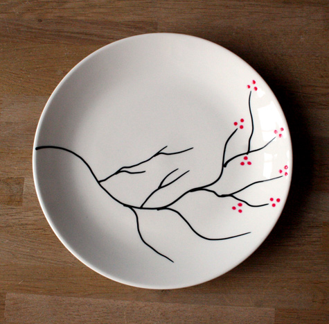 Роспись тарелки маркером