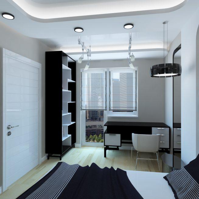 Встроенные светильники в светлой комнате